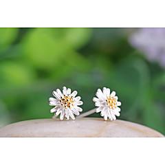 preiswerte Ohrringe-Damen Ohrstecker - Sterling Silber, Silber Blume, Gänseblümchen Weiß / Gelb Für Hochzeit / Party / Alltag