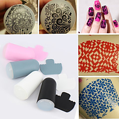 1 set of Nail Art Stamper and Scraper Set,DIY Nail Beauty Decorations Stamper Template Tools 4 Colors (Radom color)