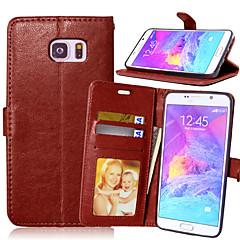 Недорогие Чехлы и кейсы для Galaxy Note 5-Кейс для Назначение SSamsung Galaxy Samsung Galaxy Note Бумажник для карт Кошелек со стендом Флип Чехол Сплошной цвет Кожа PU для Note 5