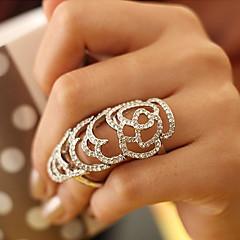 halpa Sormukset-Naisten Statement Ring Hopea Kultainen Kristalli Tekojalokivi Hopeoitu Gold Plated Ruusut Flower Ontto Eurooppalainen Party Päivittäin