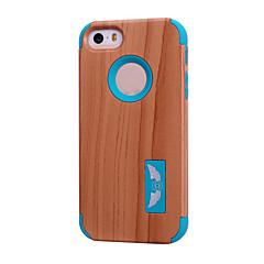 Недорогие Кейсы для iPhone 5-Кейс для Назначение iPhone 5 Apple Кейс для iPhone 5 Защита от удара Кейс на заднюю панель Имитация дерева Мягкий Силикон для iPhone