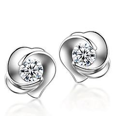 Oorknopjes Modieus Sterling zilver Kristal Bloemvorm roze Zilver Sieraden Voor Bruiloft Feest Dagelijks 2 stuks