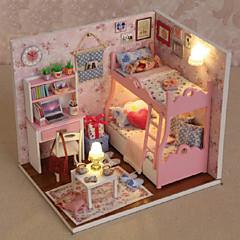 preiswerte LED-Birnen-Miniatur Puppenhaus mit Möbeln Kinder diy Mini Puppenhaus Modell Prinzessin Zimmer Kinder Spielzeug Weihnachten Neujahr Geburtstag