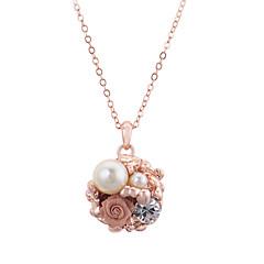 preiswerte Halsketten-Damen Kristall Anhängerketten / Perlenkette - Perle, Diamantimitate Blume Rotgold Modische Halsketten Schmuck Für Party