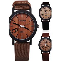 お買い得  メンズ腕時計-男性用 クォーツ リストウォッチ ホット販売 PU バンド ヴィンテージ ウッド ブラック ブラウン グレー ベージュ