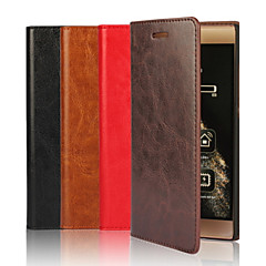 Genuine Leather Wallet Case Card Holder with Stand Case Full Body Case Solid Color Hard for Huawei P9 / P9 Lite / Honor 7 / Mate 8 / Nexus 6P
