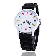 voordelige Bekijk deals-Dames Polshorloge Modieus horloge Kwarts / Vrijetijdshorloge Silicone Band Informeel Cool Zwart Wit