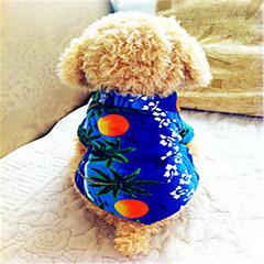 tanie Ubranka i akcesoria dla psów-Pies T-shirt Ubrania dla psów Oddychający Motyw świąteczny Modny Kwiatowy/roślinny Niebieski Kostium Dla zwierząt domowych