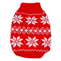 tanie Odzież dla kota-Pies Swetry Ubrania dla psów Zatrzymujący ciepło Święta Bożego Narodzenia Sylwester Płatek śniegu Czerwony Niebieski Kostium Dla zwierząt
