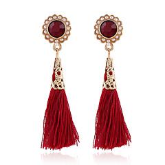 お買い得  イヤリング-ドロップイヤリング クリスタル ファッション 欧風 真珠 樹脂 ラインストーン 18K 金 模造ダイヤモンド オーストリアクリスタル 合金 スクリーンカラー ジュエリー のために 2 個