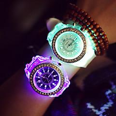 お買い得  レディース腕時計-女性用 スポーツウォッチ LED シリコーン バンド 光沢タイプ / ファッション ブラック / 白 / 1年間 / SODA AG4