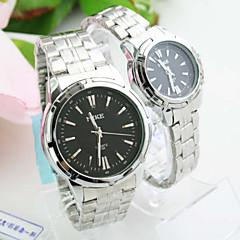 voordelige Horloges voor stelletjes-Heren Dames Voor Stel Modieus horloge Kwarts Legering Band Zilver Zwart Zilver