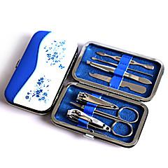 אופנה כחול לבן כלי חרסינה כלי הציפורן להגדיר, ציפורן הציפורן earpick הגבהה פינצטה נסיעה מניקור להגדיר