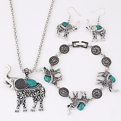 Dames Sieraden Set leuke Style Europees Luxe Sieraden Kostuum juwelen Hars Turkoois Legering Dierenvorm Olifant Kettingen Oorbellen