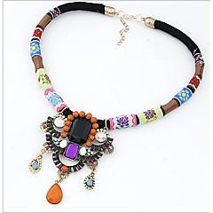 お買い得  ネックレス-女性用 クリスタル ペンダントネックレス / ステートメントネックレス - レザー ぜいたく, フォークスタイル 虹色 ネックレス 用途 パーティー