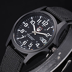 Herrn Armbanduhr Militäruhr Quartz Stoff Band Schwarz Weiß Braun Grün