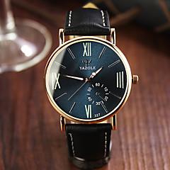 お買い得  メンズ腕時計-男性用 リストウォッチ カジュアルウォッチ レザー バンド チャーム ブラック / ブラウン / ステンレス