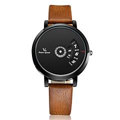 preiswerte Tolle Angebote auf Uhren-V6 Herrn Quartz Armbanduhr Armbanduhren für den Alltag Leder Band Charme Einzigartige kreative Uhr Silber