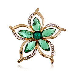 abordables -Mujer Broche - Brillante, Diamante Sintético Flor Lujo, Moda Broche Verde Para Boda / Fiesta / Ocasión especial