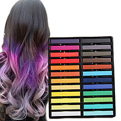 24 lápices de colores de color tiza temporal para el cabello pasteles tintes capilares no tóxicos se adhieren herramientas de estilo de