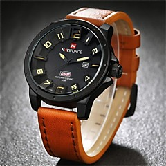 NAVIFORCE Męskie Zegarek na nadgarstek Kwarcowy Kwarc japoński Kalendarz Skóra Pasmo Czarny Brązowy