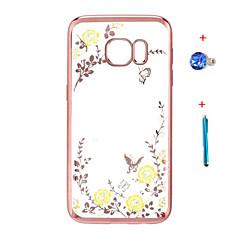 voordelige Galaxy Note 3 Hoesjes / covers-Voor Strass / Beplating / Transparant / Patroon hoesje Achterkantje hoesje Bloem Hard TPU Samsung Note 5 / Note 4 / Note 3
