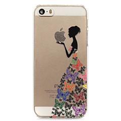 お買い得  iPhone 5S/SE ケース-ケース 用途 iPhone 5 Apple iPhone 5ケース クリア バックカバー Appleロゴアイデアデザイン ハード PC のために iPhone SE/5s iPhone 5