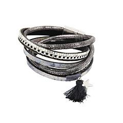preiswerte Armbänder-Damen Kristall Wickelarmbänder / Lederarmbänder - Leder, Strass Armbänder Grau Für Weihnachts Geschenke / Hochzeit / Party