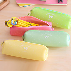 Sweet Candy Color Jelly Glue Pen Bag Lady Bowknot Pen Bag Cosmetic Bag
