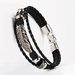 leather Charm BraceletsThree Layer Buckle Leaves Leaf Shape PU Leather Men's Bracelet Christmas Gifts