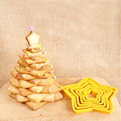 halpa -Bakeware-työkalut Muovi 3D / Creative Kitchen Gadget / DIY Kakku / Cookie / Suklaa Tähti Piparimuotit 6kpl