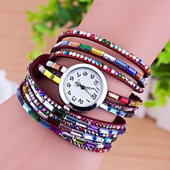 preiswerte Tolle Angebote auf Uhren-Damen Modeuhr Armband-Uhr Quartz PU Band Analog Heart Shape Perlen Mehrfarbig - Blau Rosa Wein
