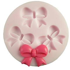 3 개의 구멍은 Bowknot 둥근 실리콘 형 퐁당 금형 설탕 공예 도구 수지 꽃 케이크를위한 금형 금형