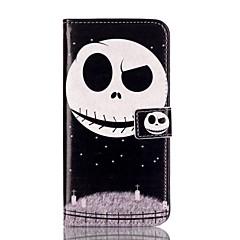 Недорогие Кейсы для iPhone 5-Для Кошелек Бумажник для карт со стендом Флип С узором Кейс для Чехол Кейс для Череп Твердый Искусственная кожа для AppleiPhone 7 Plus