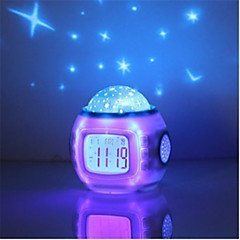 1pc Music Starry Star Sky Digital Clock Led Projector Alarm Clock Calendar Night Light Color Changing