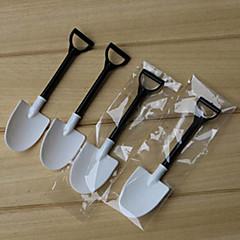 abordables Drinking Tools-100pcs desechable en maceta blanco y negro helado pala cuchara olla pequeña flor en maceta