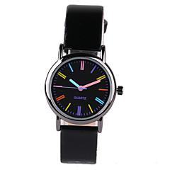 preiswerte Herrenuhren-Damen Modeuhr Quartz Armbanduhren für den Alltag PU Band Elegant Schwarz