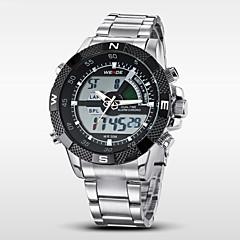 お買い得  メンズ腕時計-WEIDE 男性用 クォーツ デジタル 日本産クォーツ デジタルウォッチ リストウォッチ アラーム カレンダー クロノグラフ付き 耐水 2タイムゾーン LCD ステンレス バンド チャーム シルバー