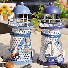 abordables Vajilla para Fiestas-el faro del candelero del faro del mediterráneo soporte de la vela soporte ligero de la lámpara decoración del hogar