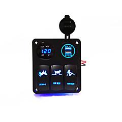 preiswerte Autozubehör-3 Kombination von Panel-Schalter mit zwei Löchern USB-Buchse / Buchse Voltmeters (neu)