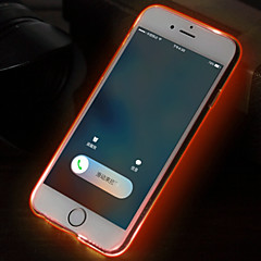 Для Кейс для iPhone 6 / Кейс для iPhone 6 Plus Мигающая LED подсветка / Ультратонкий / Прозрачный Кейс для Задняя крышка Кейс дляОдин