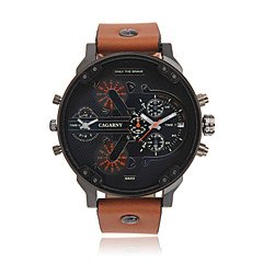 CAGARNY®Men Fashion Round Dial Dual Time Zone Analog Wristwatch with Artificial Leather Strap Assorted Colors Wrist Watch Cool Watch Unique Watch