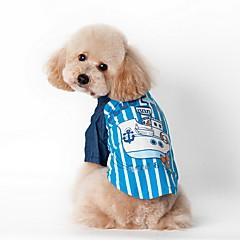 お買い得  犬用ウェア&アクセサリー-犬 Tシャツ 犬用ウェア 縞柄 ブルー ピンク コットン テリレン コスチューム ペット用 男性用 女性用