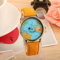 preiswerte Damenuhren-Damen Quartz Armbanduhr Armbanduhren für den Alltag PU Band Retro Weltkarte Muster Modisch Schwarz Weiß Blau Rot Grün Gelb