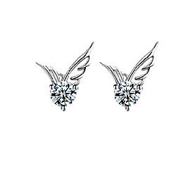 お買い得  イヤリング-女性用 クリスタル スタッドピアス  -  純銀製, クリスタル, 銀メッキ 天使の翼 ファッション, かわいいスタイル シルバー 用途 結婚式 パーティー 日常