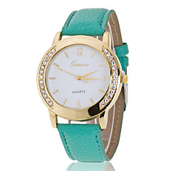 preiswerte Damenuhren-Damen Armbanduhr Imitation Diamant PU Band Charme / Modisch / Simulierte Diamant-Uhr Schwarz / Weiß / Blau