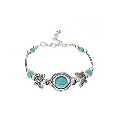 cheap Bracelets-Women's Rhinestone Turquoise Butterfly Chain Bracelet Charm Bracelet - Personalized Unique Design Circle Geometric Jewelry Silver Bracelet