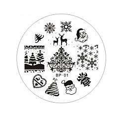 Moș Crăciun cerb zăpadă placă de imprimare de manichiură