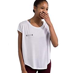 여성용 러닝 티셔츠 짧은 소매 빠른 드라이 통기성 츄리닝 상의 탑스 용 운동&피트니스 레저 스포츠 달리기 커튼 루즈핏 화이트 블랙 그레이 S M L
