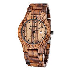 Męskie Zegarek na nadgarstek Kwarcowy Kalendarz Na codzień Drewno Pasmo Brązowy Coffee